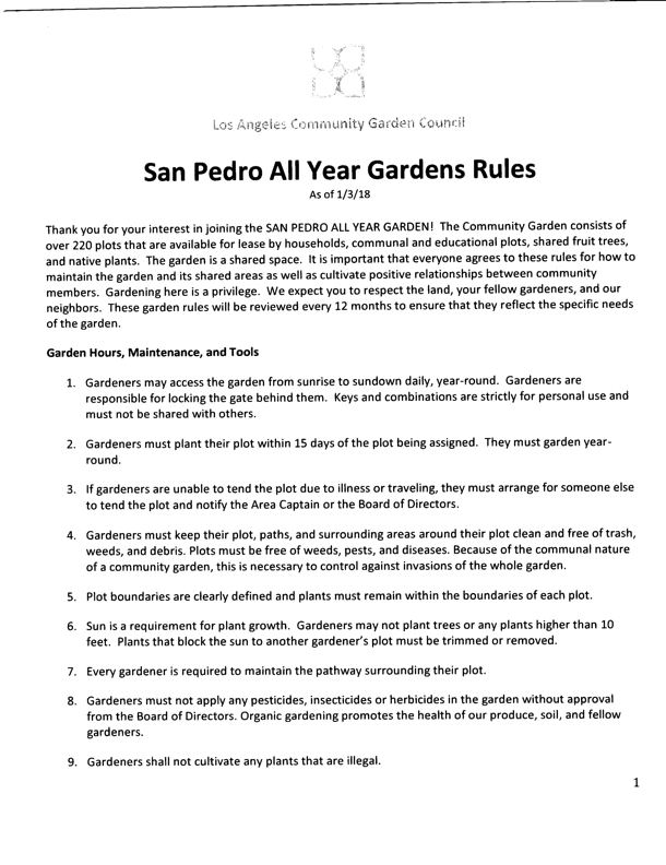 San Pedro Garden Rules via LA Community Garden Counsil Rules