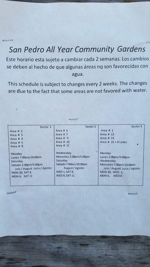 August Water Schedule 2018
